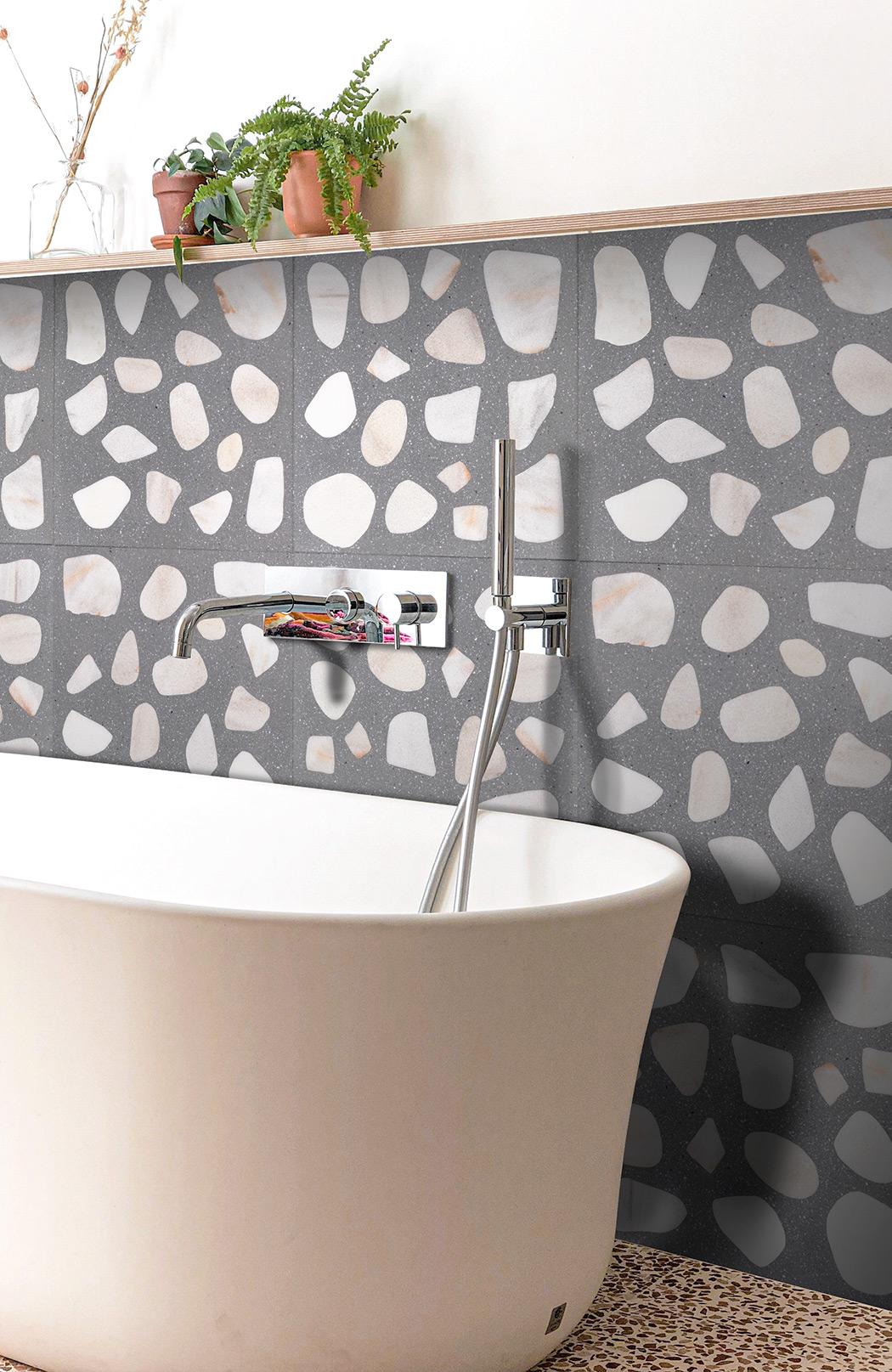 "Custom Terrazzo 40x40 cm – River stone + fine ""beton"""