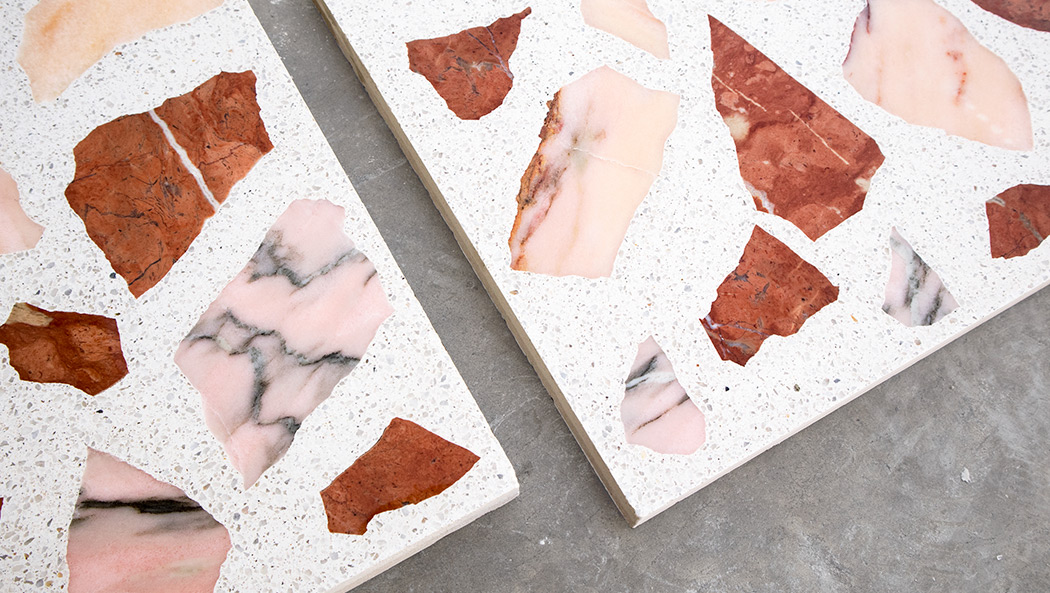 "Terrazzo ""Large"" with Pink and Red recycled Marble"