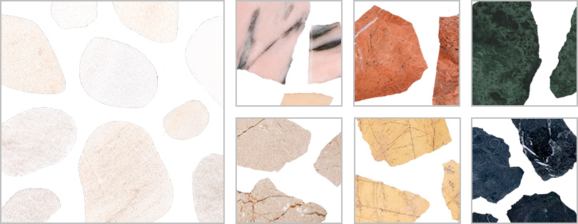 colors of Marble Terrazzo Larges and River Stone