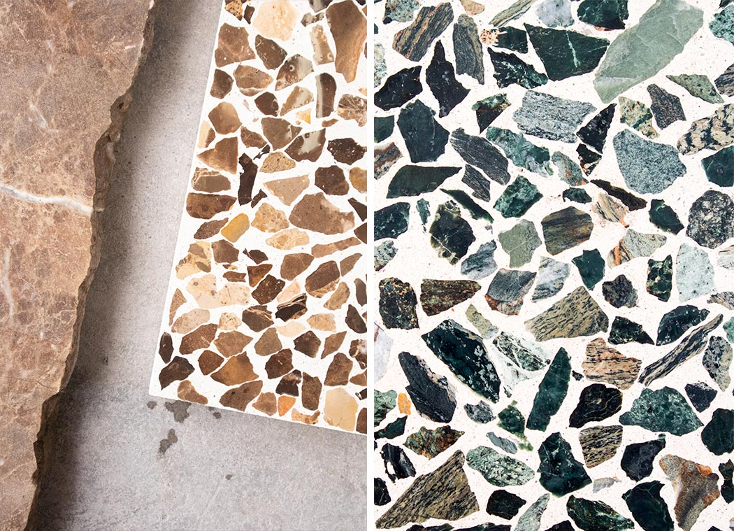 Recycled marble chips - brown and green