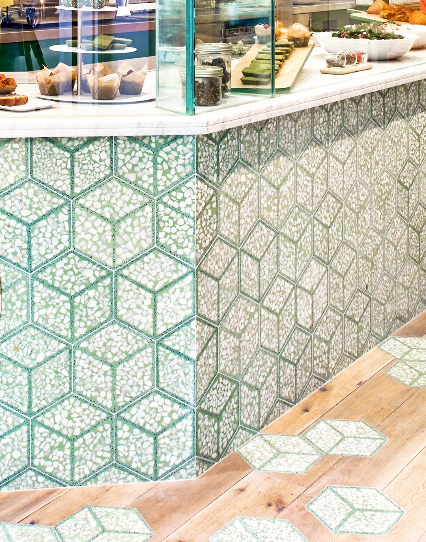 Hexagonal Terrazzo tiles 20x29 cm colour T41