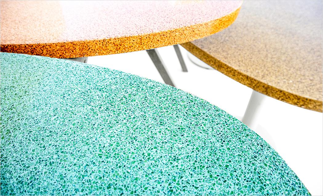 Set of coloured Granito tables