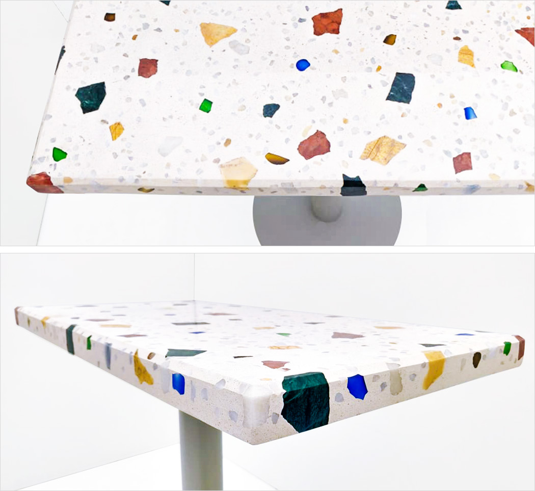 Small rectangular table in Marble 5 ++ (marble & glass)