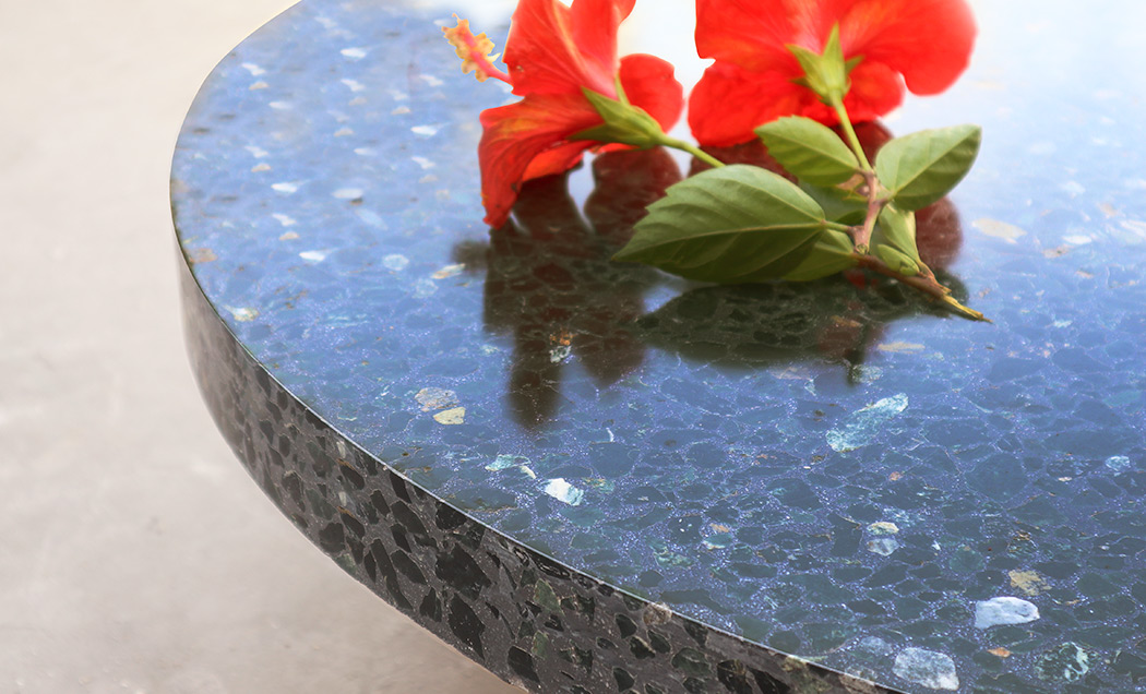 Terrazzo table top, Green Marble chips and black cement