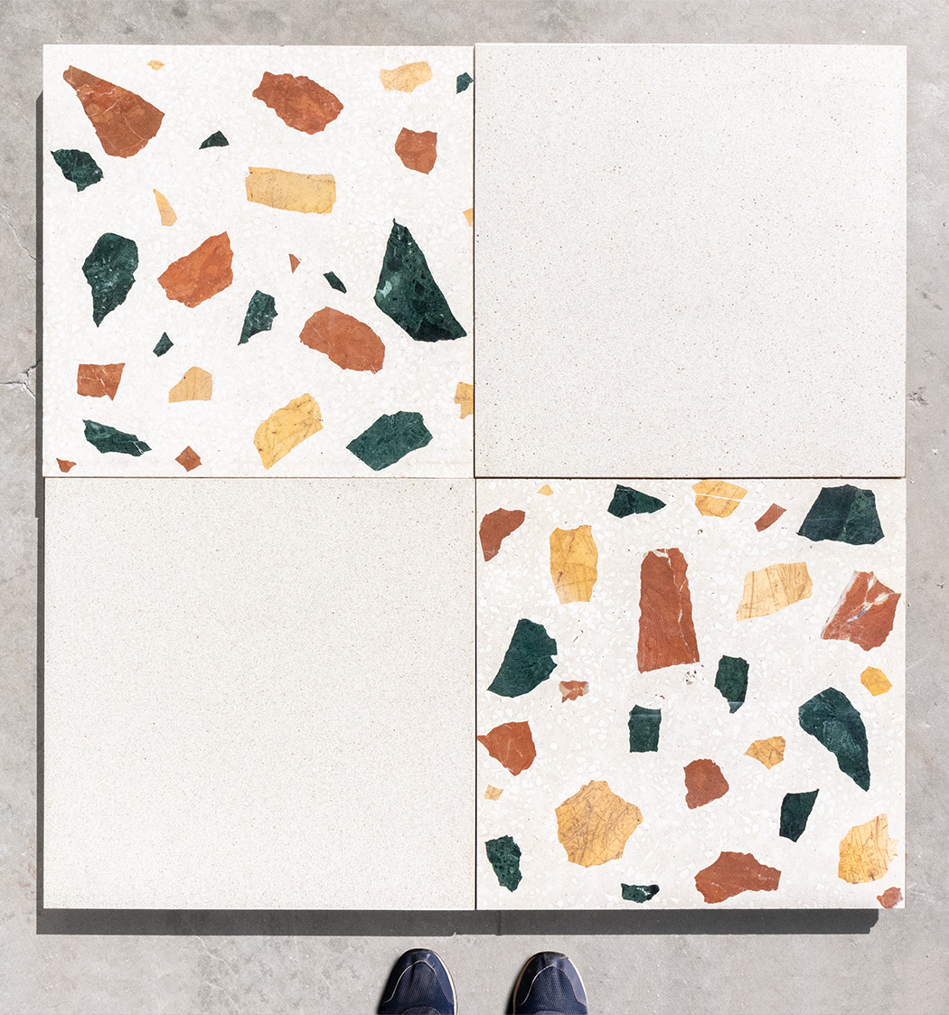 Wild large 40x40 tiles, white background, and Granito tiles colour G55